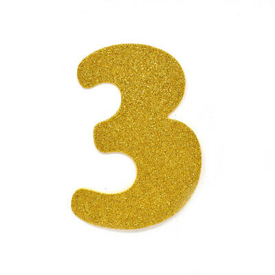 "EVA Glitter Foam Number Cut Out ""3"", Gold, 4-1/2-Inch, 12-Count"