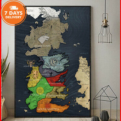 Game Of Thrones Map Westeros And Essos Map Portrait Paper Poster Without Frame
