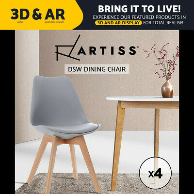 Artiss 4x Retro Replica Eames Dining Chairs PU Leather Chair Padded Seat Grey