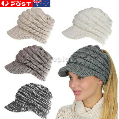 Ribbed Knit Hat Beanie Tail Lady Warm Knitted Messy High Bun Ponytail Visor Cap