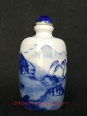 Collection Chinese Old blue-and-white Porcelain Landscape Figure Snuff Bottle