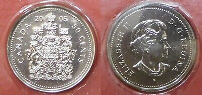 Brilliant Uncirculated 2005P Canada 50 Cents From Mint's Roll