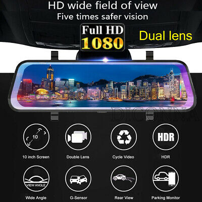 "10"" Car DVR Dual Lens HD 1080P 32G Rear View Mirror Video Recorder Dash Cam 150°"