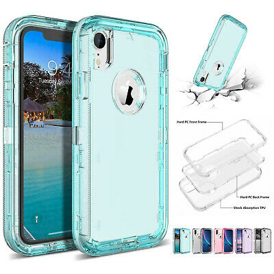Clear Defender Transparent Case iPhone 8 Plus 5 6 7 X XR XS Max Heavy Duty Cover
