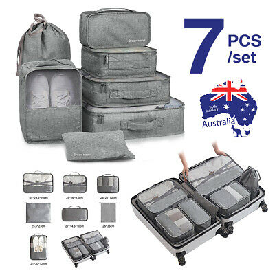 7/8PCS Packing Cubes Travel Pouch Luggage Organiser Clothes Suitcase Storage Bag