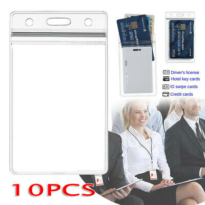 QUALITY Vertical Clear Card ID Holder Sleeve Office Name Tag Pass 2pcs AU STOCK