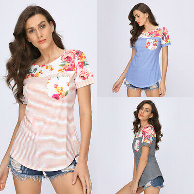 Women Floral  Pregnant Maternity Nursing Tops Short Sleeve Breastfeeding T-Shirt