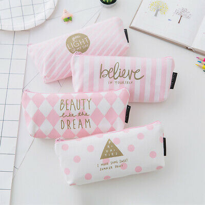Pink Pencil Case Pen Box School Stationery & Cosmetic Makeup Pouch Zipper Bag UK