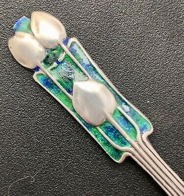 exquisite Liberty & Co cymric silver & enamel fork Archibald Knox 1923