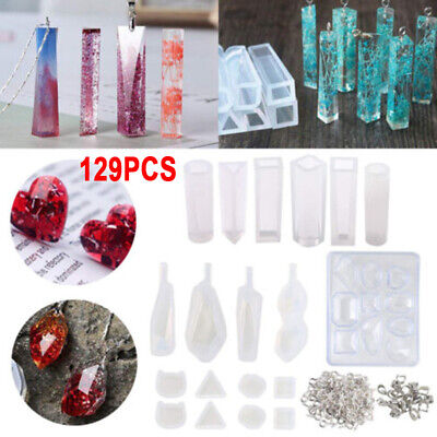 129 Pc/kit Silicone Resin Pendant Molds Jewelry Casting Molds Screw Eye Pins