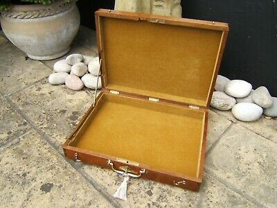 SUPERB LARGE 19c SOLID WALNUT ANTIQUE DOCUMENT/JEWELLERY BOX  FAB INTERIOR