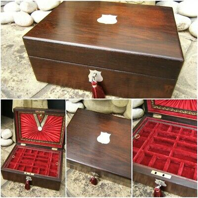 Wonderful 19C Inlaid Rosewood Antique Jewellery Box - Fab Interior