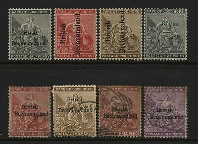 British Bechuanaland Collection 8 Cape of Good Hope Ovprt Stamps MM + Used