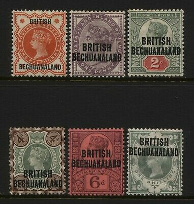 British Bechuanaland 1887 - 1891 Collection 6 QV Jubilee Ovprt Values Unused M