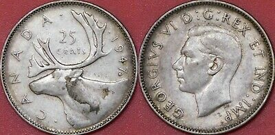 Very Fine 1947 Canada Maple Leaf Silver 25 Cents