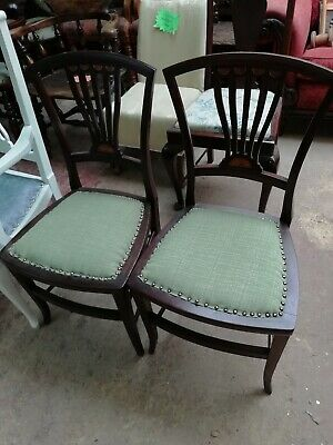 Pair Edwardian Chairs Hall Dining or Bedroom