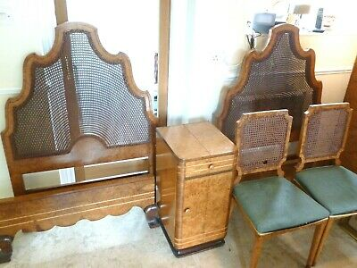 Antique Art Deco Burr Walnut  Bedroom Suite Bed Wardrobe