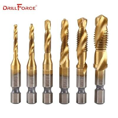 6PCS M3-M10 Screw Tap Drill Bits HSS Taps Metalworking Metric Combination Bit