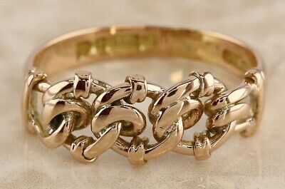 Victorian (1899) 9ct rose gold chain ring size Q