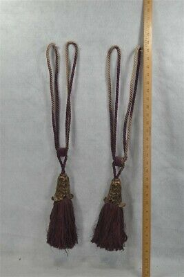 drapery tie backs  curtain tassel lg Victorian purple maroon pr antique vintage