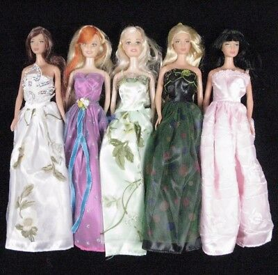 5pcs Barbie Dolls clothes Accessories & 5 Pairs of shoes Mystery Xmas gift A90C