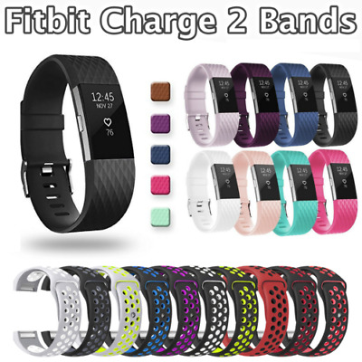 For Fitbit Charge 2 Silicone Rubber Replacement Wrist Sports Watch Band Strap Ca