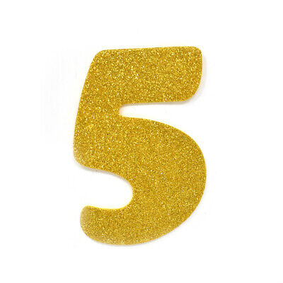 "EVA Glitter Foam Number Cut Out ""5"", Gold, 4-1/2-Inch, 12-Count"