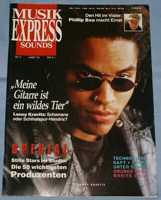Musik Express Sounds Nr 3 / 1993 - Phillip Boa, Lenny Kravitz, Sting, Boy George