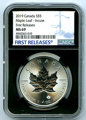2019 $5 Canada 1 Oz Silver Incuse Design Maple Leaf Ngc Ms69 First Release Blue