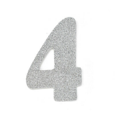 "EVA Glitter Foam Number Cut Out ""4"", Silver, 4-1/2-Inch, 12-Count"