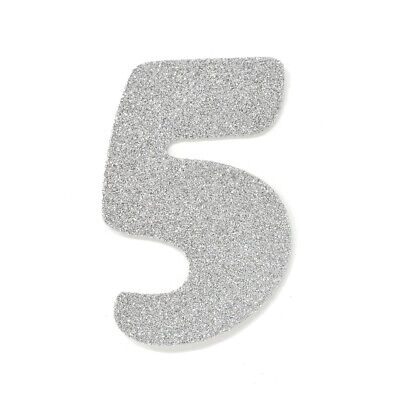 "EVA Glitter Foam Number Cut Out ""5"", Silver, 4-1/2-Inch, 12-Count"