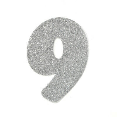 "EVA Glitter Foam Number Cut Out ""9"", Silver, 4-1/2-Inch, 12-Count"