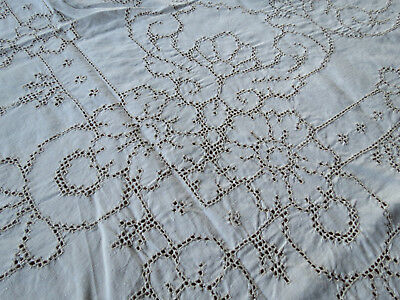 "Antique Vintage MOSAIC LACE LINEN Hand Embroidered TABLECLOTH 68"" x 83"""