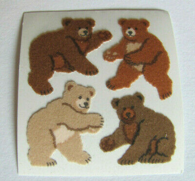 Rare Vintage Sandylion Fuzzy Adorable Brown Bears Sticker Mod