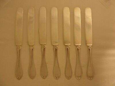 7 Antique Victorian Wm. Rogers Oval 1882 Pattern Flat Silver Plate Knives