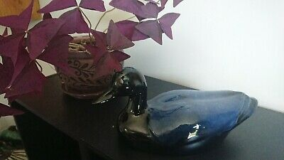 Blue Mountain Pottery Swimming Duck in Cobalt Blue 1970-80!