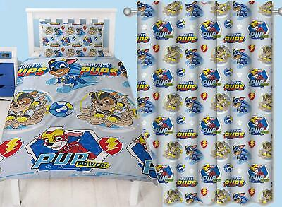 Paw Patrol Mighty Pups Single Duvet & Matching Readymade Curtains Bedding Set