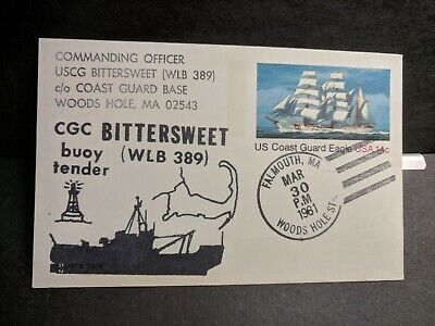 USCGC BITTERSWEET WLB-389 Naval Cover 1981 Cachet WOODS HOLE, FALMOUTH, MA