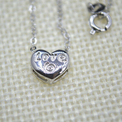 "Shiny 925 Sterling Silver Plt Cute Small Love Heart Pendant Necklace 18"" Gift UK"