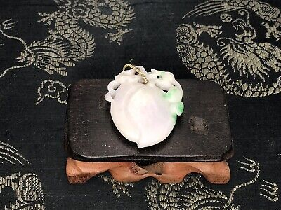 Antique Chinese Carved Jadeite Jade Pendant With Lovely Apple Green Color