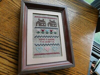 Mini Cross Stitch Sampler Home is Where the Heart Is Handmade Completed