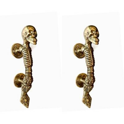 "2 small 7"" SKULL handle DOOR PULL spine solid brass old vintage natural style B"