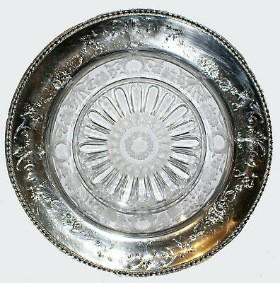 ca. 1913 Rare Grogan Company Sterling Silver Round Platter w Etched Glass Center