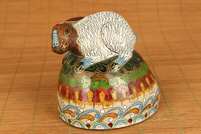Rare Big Chinese Old enamels Cloisonne Handmade rabbit on ball Statue antique