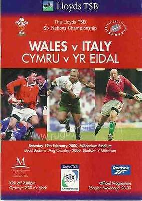 WALES v ITALY 2000 RUGBY PROGRAMME 19 Feb at CARDIFF - FIRST SIX NATIONS SEASON