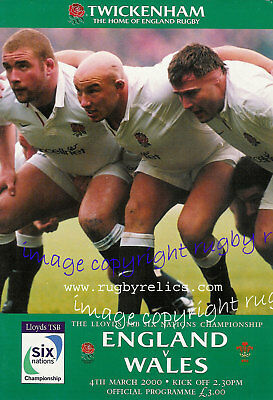 ENGLAND v WALES 2000 RUGBY PROGRAMME, SIX NATIONS AT TWICKENHAM