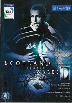 SCOTLAND v WALES 2001 RUGBY PROGRAMME - SIX NATIONS at MURRAYFIELD