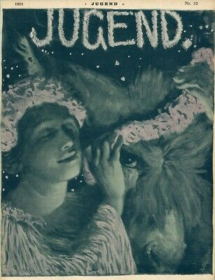 1901 Jugend Style Magazine Cover Print Girl Flowers Garland Donkey by Pfeiffer