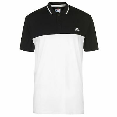 Lonsdale Contrast Jersey Polo Shirt Mens Gents Classic Fit Tee Top Short Sleeve