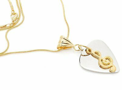 Stainless Steel Guitar Pick With Treble Clef Pendant Gold Plated Snake Necklace